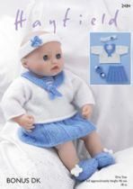 Sirdar DK Knitting Pattern - 2484 Baby Dolls Sailor Top, Skirt, Pants, Shoes and Headband